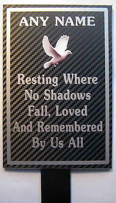 Weatherproof Memorial Plaque Personalised ANY NAME In Loving Memory Dove rest