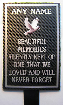 Weatherproof Memorial Plaque Personalised ANY NAME In Loving Memory Dove beauti