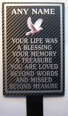 Weatherproof Memorial Plaque Personalised ANY NAME In Loving Memory Dove your