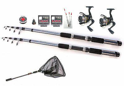 Silstar Float fishing traveller kit 2 rods & 2 reels + net compact for suitcases