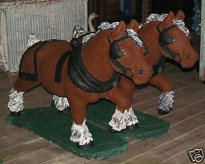 Pair of Vtg Cement Concrete Draft Horse Clydesdale Yard Garden Statues Painted