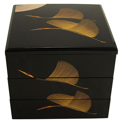 "Japanese ""JUBAKO"" Black Lacquer Stack 3 Tiers 5""H Cranes Bento/Accessory Box"