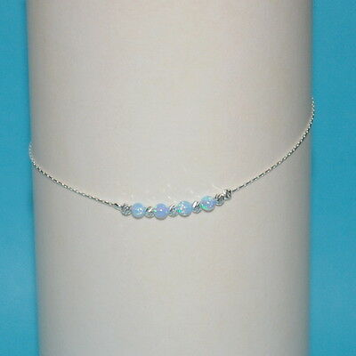 Sterling Silver 925 Chain Laser Cut & OPAL Beads ANKLET Blue Green White Pink