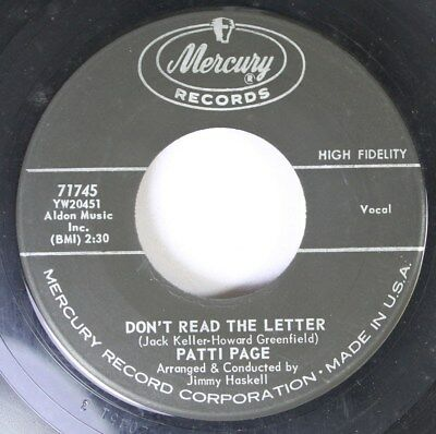 Rock 45 Patti Page - Don'T Read The Letter / That'S All I Need To Know On Mercur