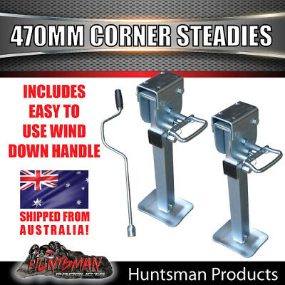 X2 470mm DROP DOWN CORNER LEGS STEADIES. & HANDLE STEEL FOOT! CARAVAN TRAILER
