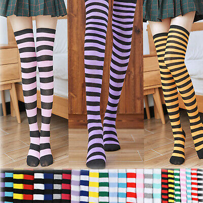 Cute Lolita Girls Stocking Socks Over-knee Stripe Thigh High Dance Socks Cosplay