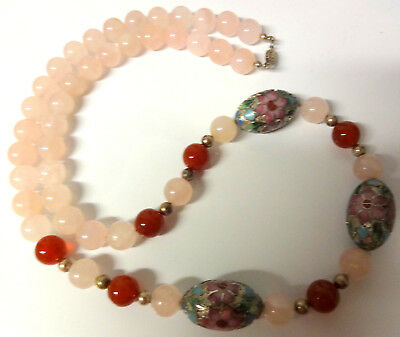 Antique Chinese Hand Made Big Sterling Silver & Pink Rock Quartz Beads Necklace