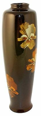 Owens Pottery Utopian Colorful Pansy Vase Shape 1290 (Fouts)