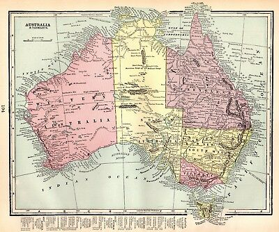 1897 Antique AUSTRALIA Map w TASMANIA Original Map of Australia Print 2254