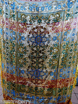 Vtg Italian Gold Multi Color Silk Brocade Throw Tapestry Table Cloth W Fringe