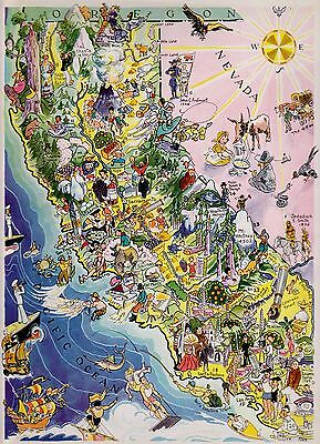 1932 Antique CALIFORNIA Map Pictorial Map of California FUN Whimsical Map 2267
