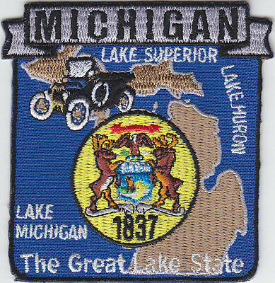 Michigan MI map patch THE GREAT LAKE STATE/Ford Model T/Huron/Superior