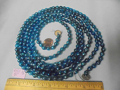 "Christmas Garland Mercury Glass Blue 87"" Long 5/16"" Beads #D351 Vintage"