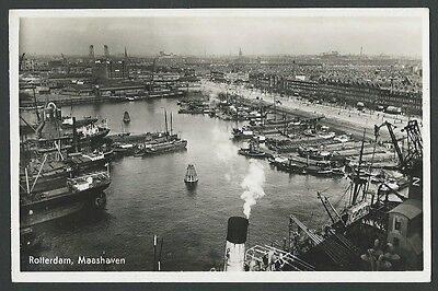 Rotterdam Netherlands Maashaven c1950s Real Photo Postcard