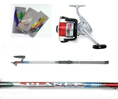Nerus Holiday Sea Fishing mackeral kit-  Rod,Reel,line & Feathers