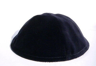 "Dark Blue Velvet 7"" Jewish Kippah Yarmulka Synagogue Made in Israel High Quality"