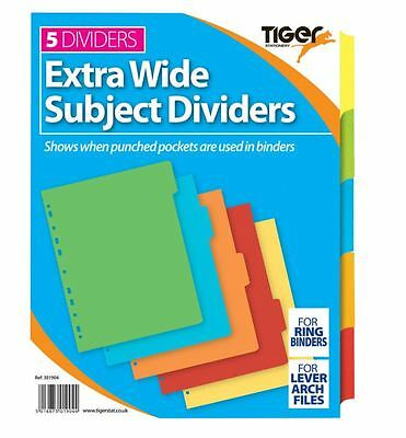A4 5 Part Extra Wide Colour Coded Strong Filing Subject Tabbed Index Dividers