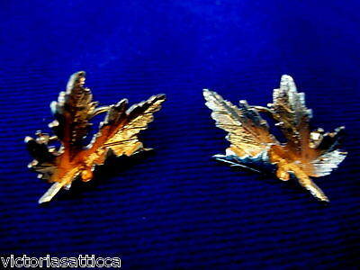 Collectible Vintage Gold Tone MAPLE LEAF Clip-On Earrings - Estate Jewelry