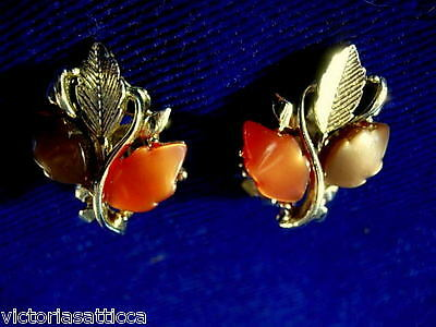 Collectible Vintage Brown/Rust/Gold Tone Leaves Clip-On Earrings- Estate Jewelry