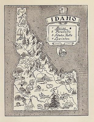 Vintage IDAHO Map Mining Indians Animals FUN Whimsical 50s Map BW 2300