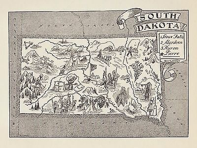 Vintage SOUTH DAKOTA Map Farming Animals FUN Whimsical 50s Picture Map BW 2314
