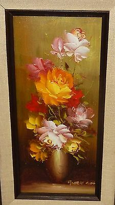 Robert Cox Original Oil On Board Floral Vase Small Painting