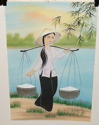 Asian Girl Carrying Rice Original Watercolor On Silk Painting Signed