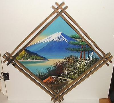 Japanese Fuji Mountain Original Acrylic On Board Painting Signed