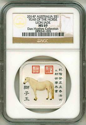 2014 P S$1 Australia Year Of The Horse Lion Jade Colorized NGC MS69