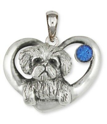 Maltese Dog Birthstone Pendant Jewelry Sterling Silver Handmade  ML16-SP