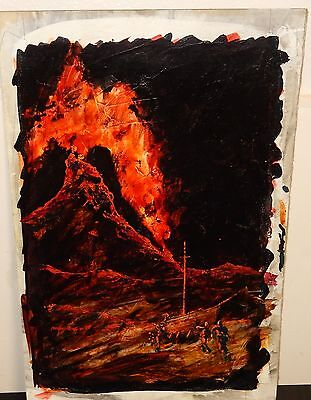 War Zone Fire Volcano Original Acrylic On Paper Painting Unsigned
