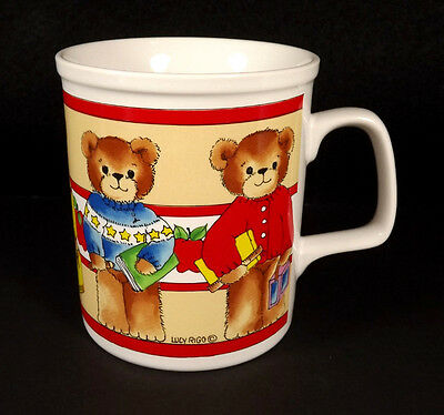 Lucy and Me Bear Mug Teddies in Sweaters Cup Ceramic Pottery 1982 Rigg Enesco