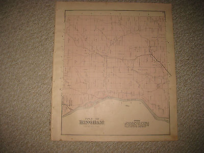 Antique 1883 Bingham Somerset County Maine Handcolored Map Superb Rare Nr