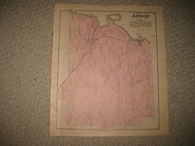 Antique 1883 Anson Madison Somerset County Maine Handcolored Map Superb Rare Nr