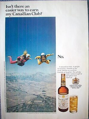 1969 Canadian Club Sky Diving Bishop California Easier Way To Earn ad