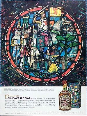 1959 Chivas Regal Whisky Robert The Bruce Medieval Cathedral Window Stain Glass
