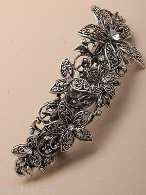 PACK OF 3 VINTAGE CRYSTAL 10cm FILIGREE FLOWER BARRETTE/HAIR CLIP : SP-5105 PK3