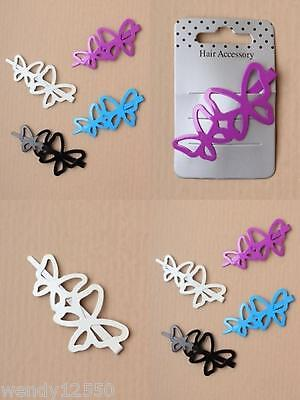PACK OF 4 BRIGHT BUTTERFLY 6cm BEAK CLIPS, HAIR ACCESSORIES : SP-5765 PK4