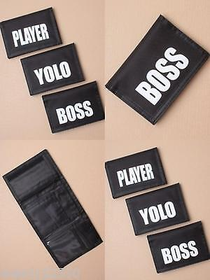 PACK OF 6 BLACK TRI FOLD WALLETS WITH SLOGAN 13x9cm : SP-5793 PK6