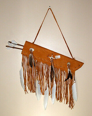 "Flat 19"" Fringed Leather Quiver w/ Two Arrows Native American Navajo #CS43"
