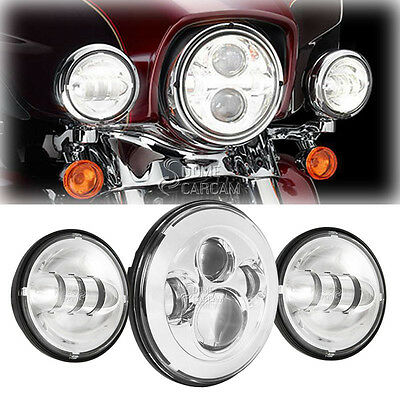 """7"""" Projector Daymaker LED Headlight + Passing Bulbs Kit For Harley HD Road King"""