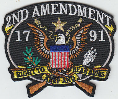 2nd Amendment 1791 RIGHT TO KEEP AND BEAR ARMS patch EAGLE CLUTCHING RIFLES