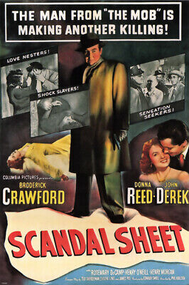 FILM noir MOVIE poster SCANDAL SHEET donna REED broderick CRAWFORD 24X36-PW0
