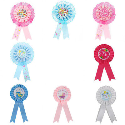 Newborn Baby Shower Party Decor Happy Bday/Mom To be Award Ribbon Rosette Badge