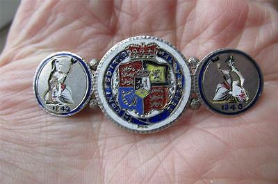 Unusual GEORGE III & QUEEN VICTORIA enamel Coin Brooch 1/- and 4d's GROATS