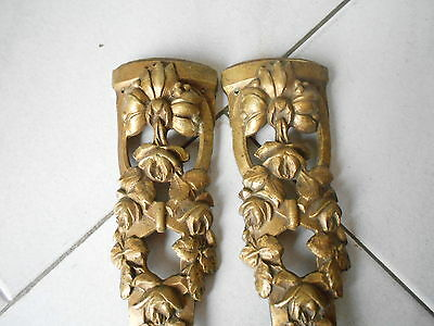 2 Antique french Bronze CHATEAU FLORAL FINIALS MOUNTS ORNAMENTS