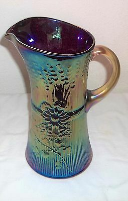Gibson Iridescent Carnival Red Pitcher 11'' Tall Signed 1987