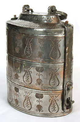 Antique Middle East Silvered Stacking Decorated Spice Box Arabic Writing Signed