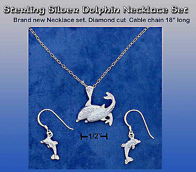 Dolphin Sterling Silver Dangle Earrings and Necklace Set