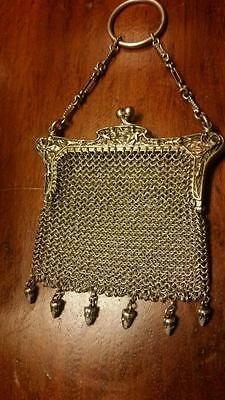 ANTIQUE FRENCH SILVER sterling CHATELAINE change PURSE with ornate acorn drops